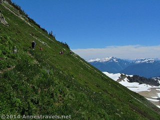 After passing Coleman Pinnacle, the trail goes through lovely meadows, Mount Baker-Snoqualmie National Forest, Washington
