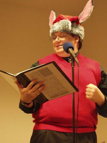 Daniel W. Kiernan in a Santa hat with ears.