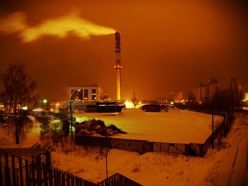 winter orange industry power smoke smokestack heat orangesky pkp elpueblo płońsk phcplant