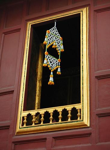 Monk's Quarters with Garland at a Bangkok Wat