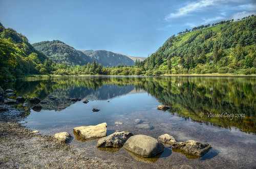 county trees ireland sky lake mountains water clouds reflections photography nikon rocks vincent glendalough lower wicklow laragh coey d5100