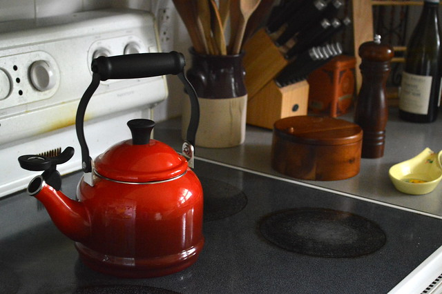 Red kettle on the stovetop