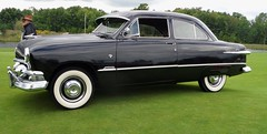 pontiac chieftain(0.0), full-size car(0.0), plymouth cranbrook(0.0), automobile(1.0), automotive exterior(1.0), 1949 ford(1.0), vehicle(1.0), mid-size car(1.0), compact car(1.0), antique car(1.0), sedan(1.0), classic car(1.0), land vehicle(1.0), luxury vehicle(1.0),