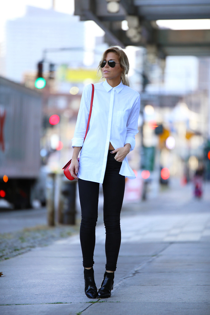 white oversized button up