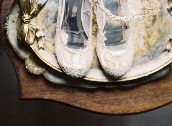 lace-ballet-flats-wedding-shoes-tiara-florintine-tray-wood-gold