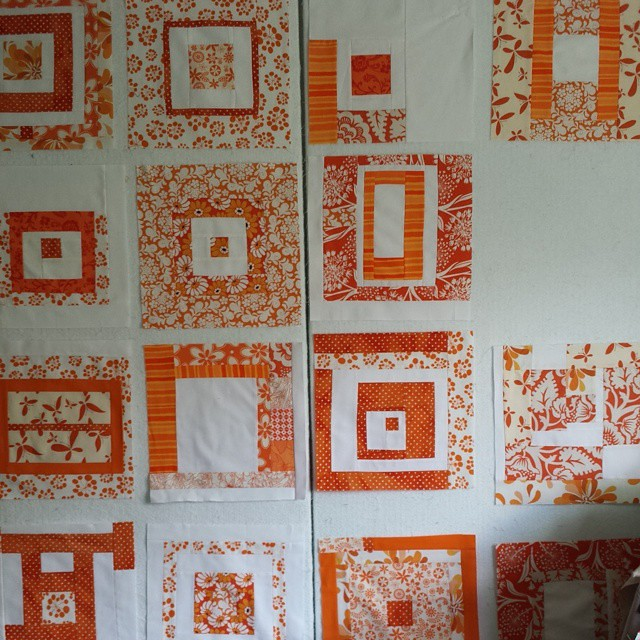 Why yes there are perfect blocks on my design wall. I'll zip up one more and then sash and find a great boarder.  These made possible by amazing bee mates a million years ago
