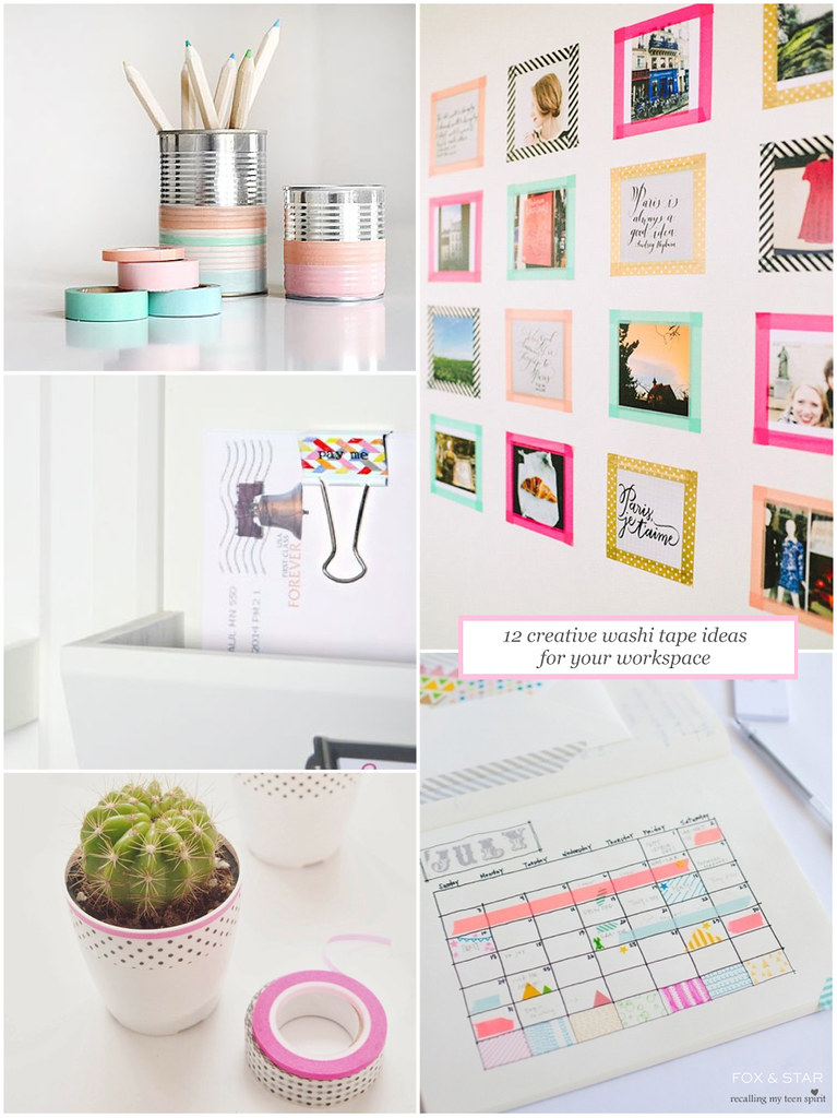 12 creative washi tape ideas for your workspace fox and star blog. Black Bedroom Furniture Sets. Home Design Ideas
