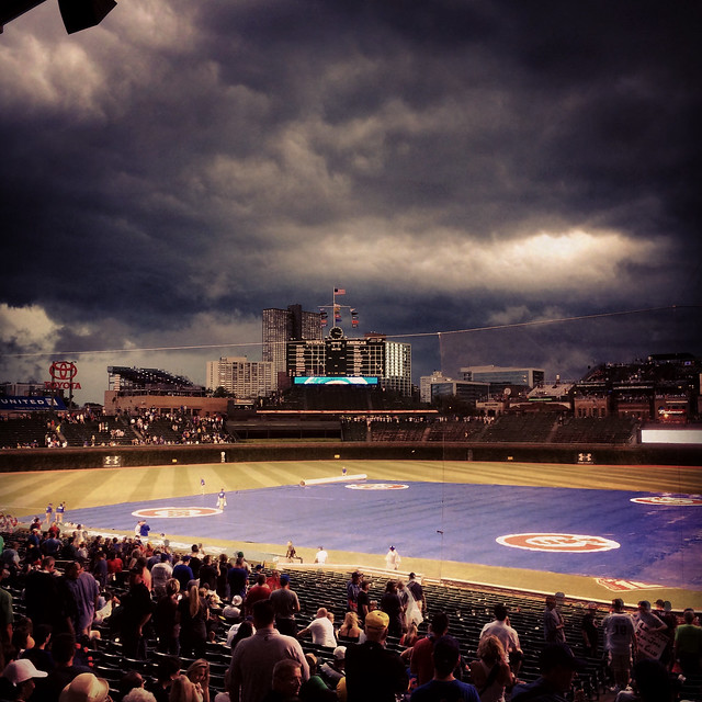 Storm clouds roll over Wrigley Field