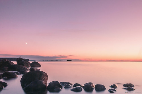 sunset moon lake canon landscape rocks long exposure sweden sigma