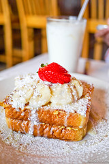 Banana Nut French Toast- frent toast stuffed with bananas and candied walnuts