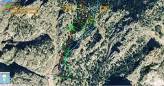 Carte Géoportail des couloirs de Bocca Purcaraccia dans le Giru di Vangoni avec les différentes traces relevées ou estimées