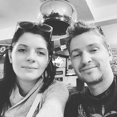 Were enjoying climate change on a beautiful summer day in February when it started to pour so hopped into a pub for a beer. #pub #bar #beer #czechgirl #latvianboy #couple #coupleselfie #selfie #needashave #czech #latvian