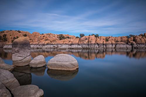 prescott arizona unitedstates us prescottlake rocks desert clouds water