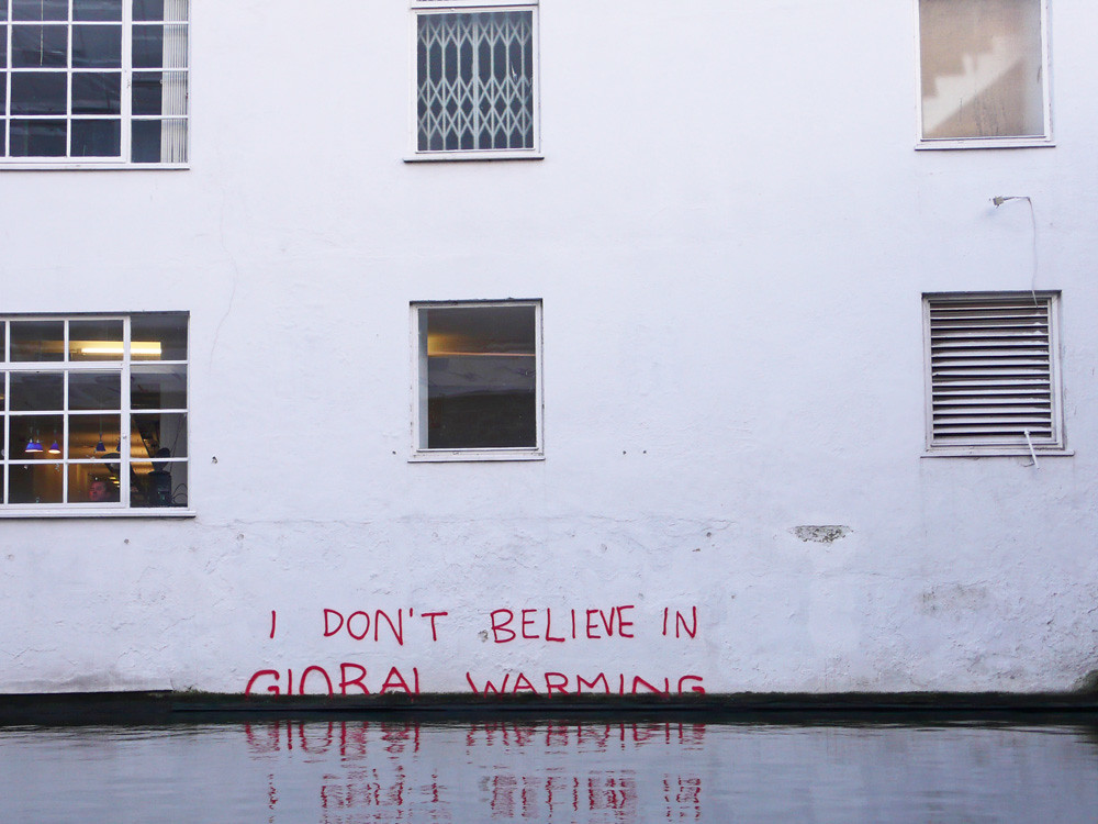 """I don't believe in Global Warming"": Climate change denial by #Banksy"