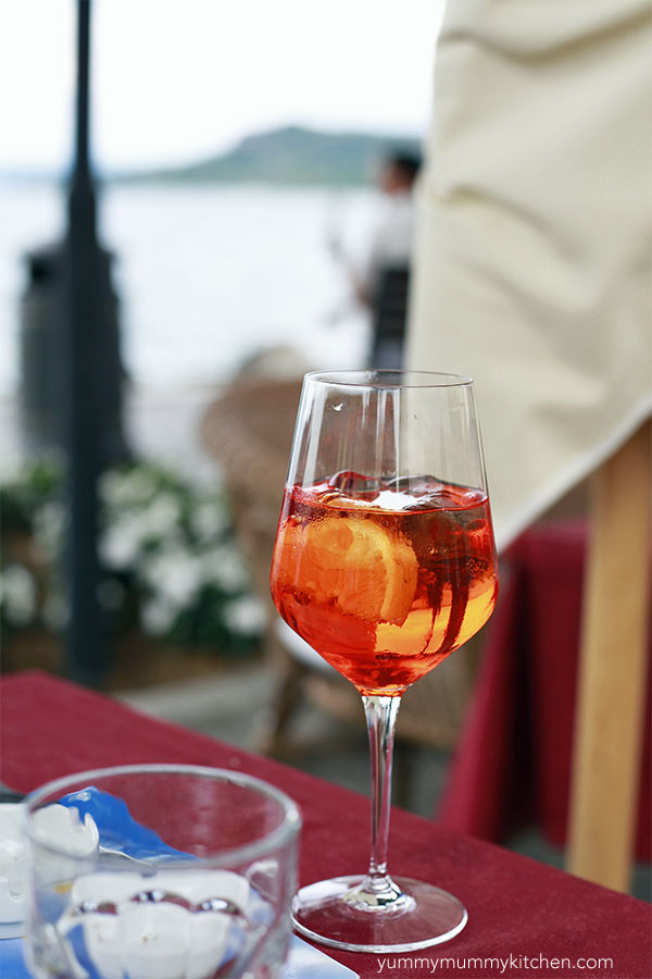 An orange aperol spritz in italy