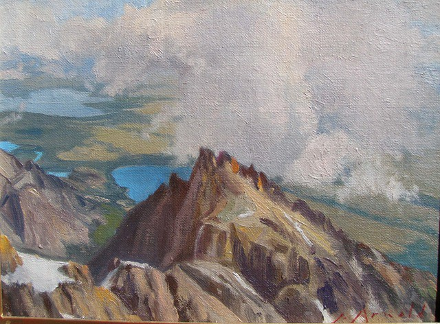 This is the view from the summit of the Grand, showing Teewinot below. I have done three pastel studies from the summit, used as inspiration for this 9 x 12 in. oil, completed in the studio. At 13770 feet the solar intensity was such that my dark pastels were very hot to the touch.