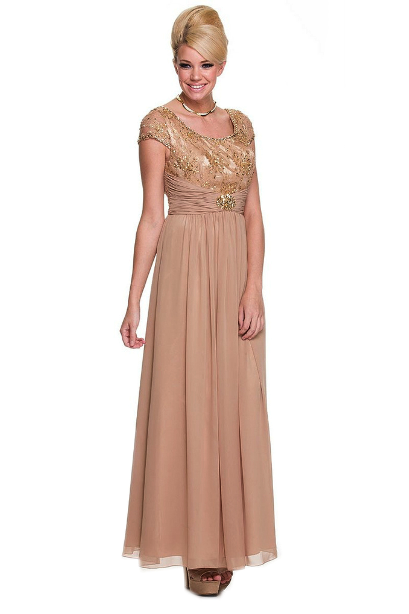 Mother of the Bride Cap Sleeve Dress Plus Sizes Empire