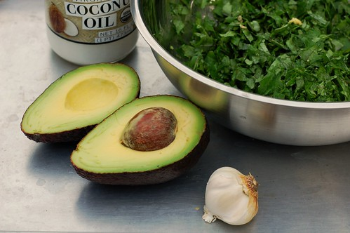 Avocado, coconut oil, garlic and kale by Eve Fox, the Garden of Eating, copyright 2014