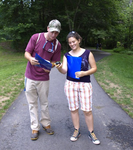 Image of two people geocaching.