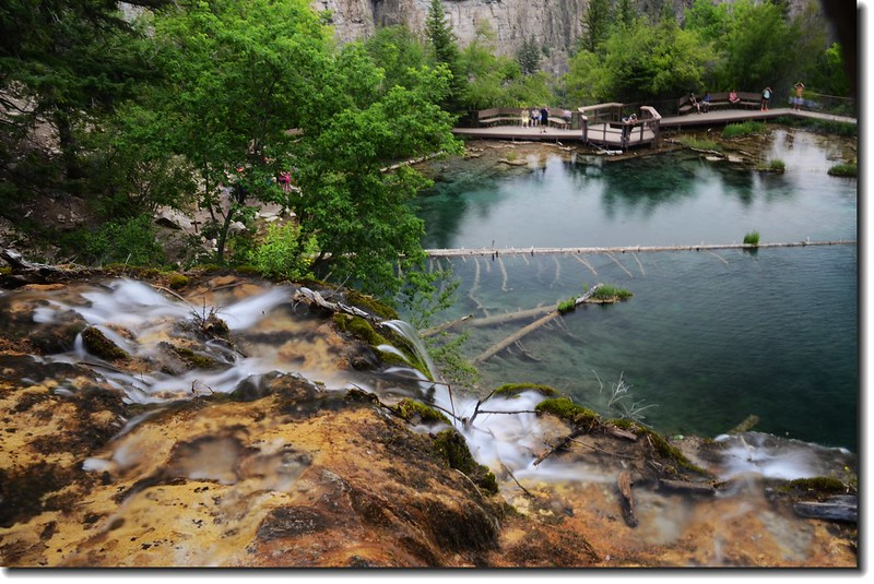 Looking down to Hanging Lake from  the top of the Falls 4