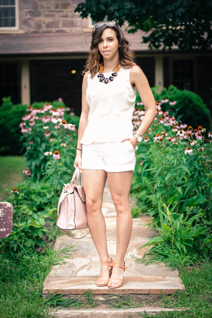 va darling. dc blogger. virginia personal style blogger. virginia blogger. white forever21 top. white cotton shorts. kate spade saturday a satchel. pink wedges. summer style 11