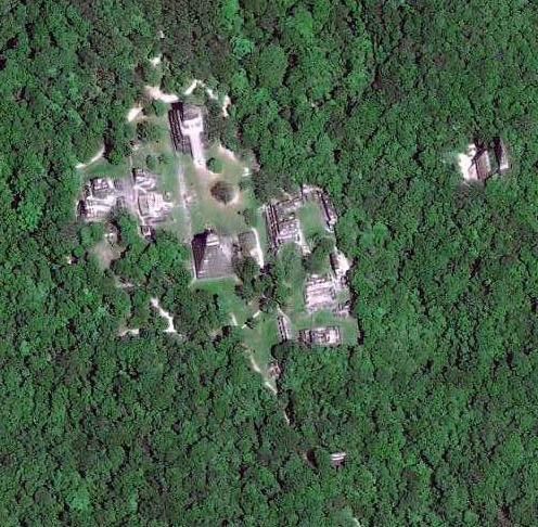 Imagen vía satélite de Tikal (Guatemala)