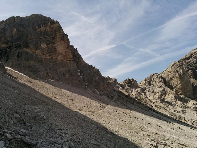 Blick zurück zum Sattel, Aufstieg Schusterplatte