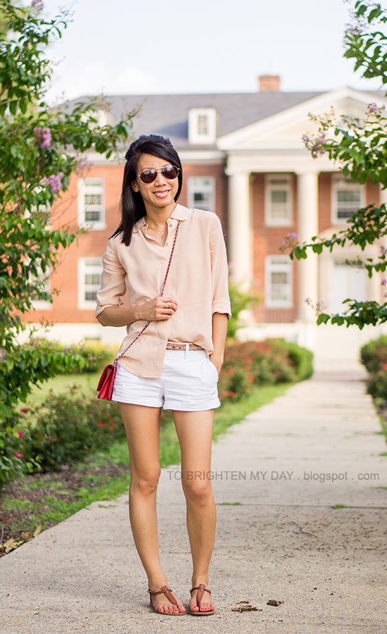 nude blouse, piped glitter belt, red crossbody bag, white shorts, brown sandals
