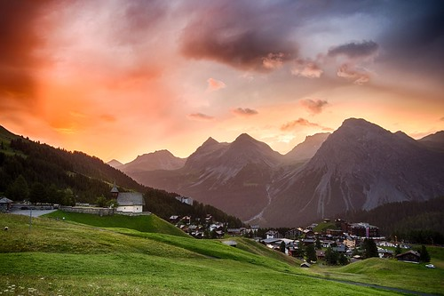 morning mountains alps church sunrise switzerland hdr innerarosa