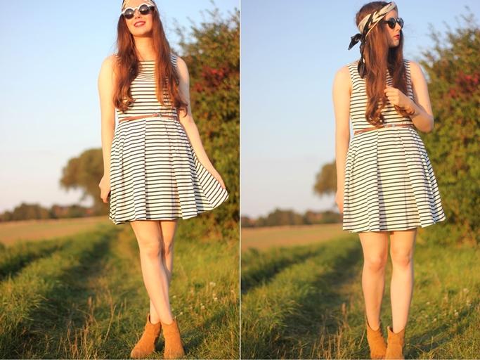 turban outfit blog - gestreiftes kleid schlicht minimalistisch - baumwollkleid gestreift