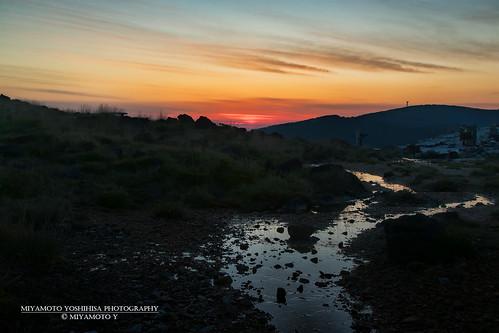 sunset cloud mountain reflection rock japan river twilight kyushu kirishima kagoshimapref