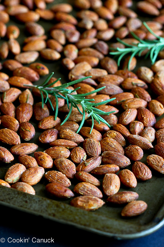 Roasted Almonds with Smoked Paprika & Rosemary...A handful of these spiced nuts will keep you satisfied! | cookincanuck.com #healthy #recipe #snack