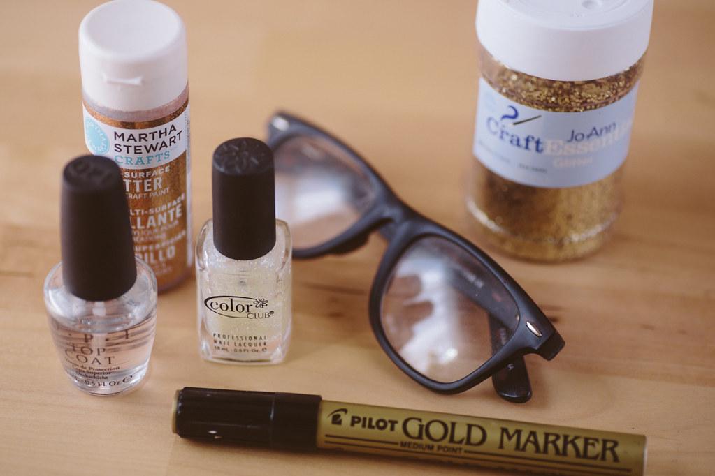 Nail Polish Glasses Frame : diy gold glitter glasses Delightfully Tacky