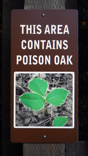 Poison oak sign at Bridal Veil Falls, one of the many waterfalls along Historic Hwy 30 in Oregon