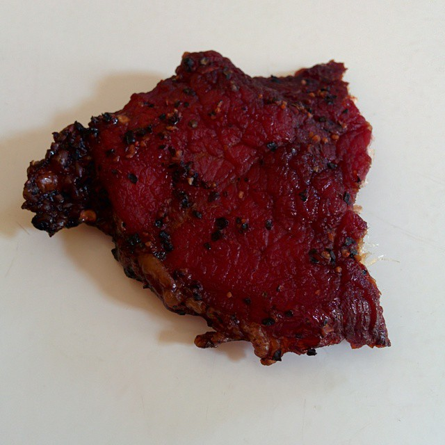 A piece of homemade beef jerky