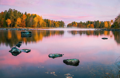 autumn sky lake fall texture fog stone forest sunrise reflections river haze paint sweden greatphotographers magicunicornverybest