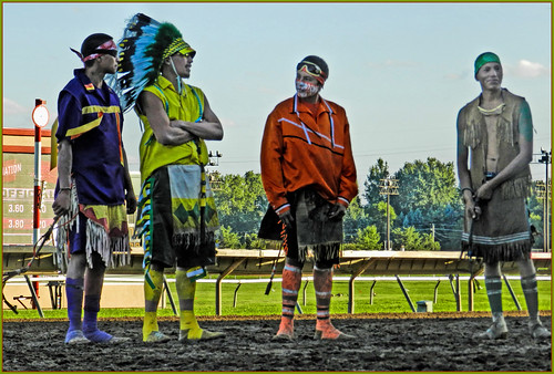 NATIVE RELAY RACE RIDERS ...WAITING...Canterbury Downs Indian Horse Relay $50,000 Championship