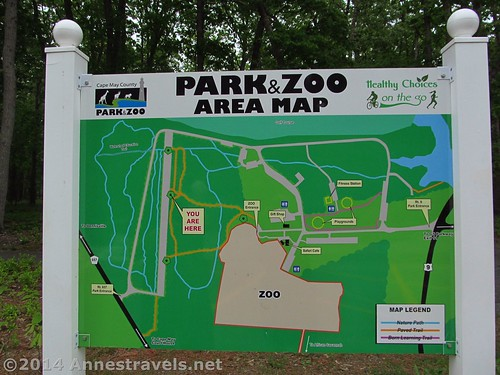 A map showing how to get from the parking area to the Cape May Zoo, New Jersey