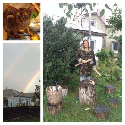 Подготовка к ДР была абсолютно мирной. Спокойно шел дождь, кот воровал курицу из салата Оливье и мне выдали целых две радуги! #старыйкрым  #ужосынашегогородка  #тайфунпетровна