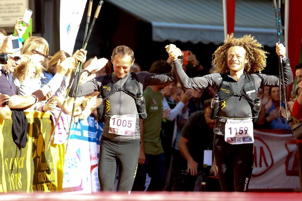 O Cristophe Les Saux και ο Antoine Guillon τερματίζουν μαζί στον TDG 2014 (c) tordesgeants.it
