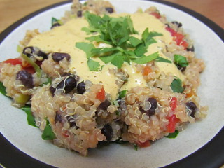 Quinoa and Black Beans with Cashew Queso Sauce