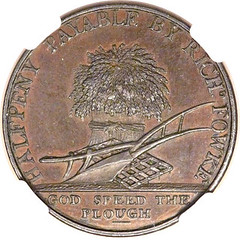 Leicestershire. Elmsthorpe 1-2 Penny 1800 reverse