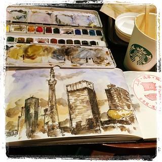 #tokyo #japon #urbansketch #asakusa #carbon #platinum #watercolor #starbucks