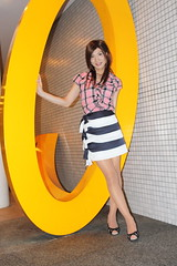 Check ruffle blouse and Marine miniskirt_12_End