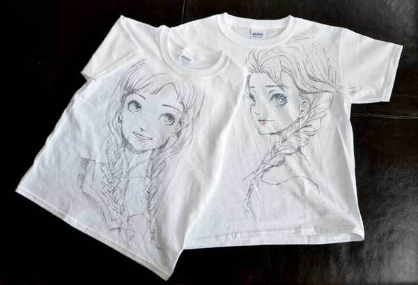 t-shirt drawing with fabric markers
