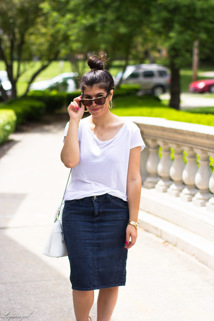 denim pencil skirt, white tee, hobie sunglasses.jpg