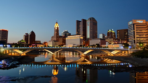street city bridge blue columbus sunset ohio sky urban reflection water skyline architecture night river twilight long exposure downtown rich clear hour scioto