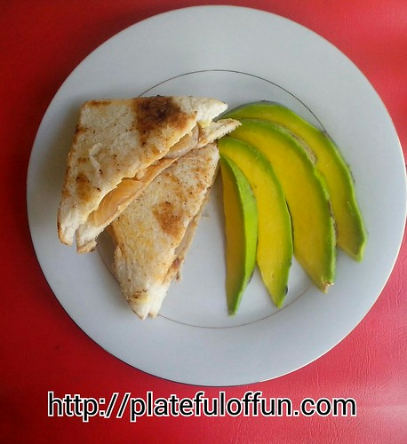 Onion and Cheese Sandwich and Avocado Slices