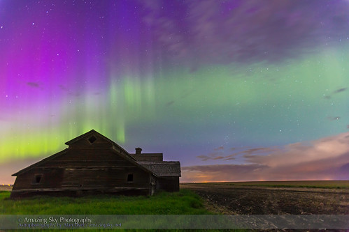 Purple Aurora over Old Barn #5 (June 7-8, 2014)