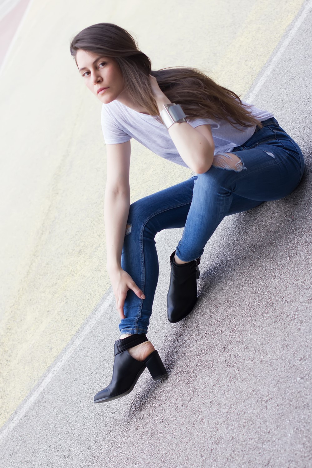 Pull&Bear High Heel Sling-Back Ankle Boots